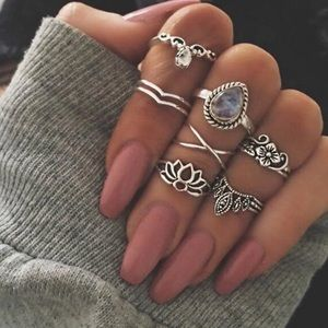Jewelry - Silver Toned Midi Knuckle Rings Lotus Flower
